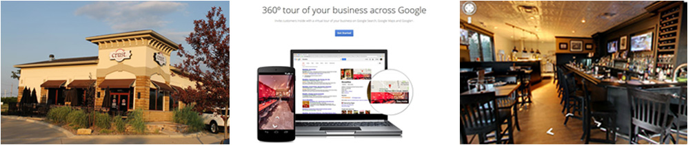 Graphic showing two samples of photography and the 360 degree view of a business from Google
